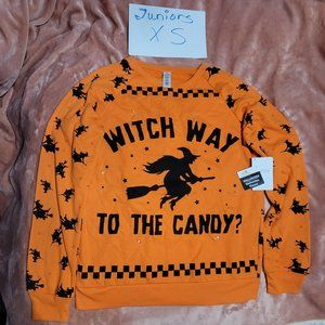 Juniors XS Witch Way to Candy Light Up Halloween Sweatshirt NWT